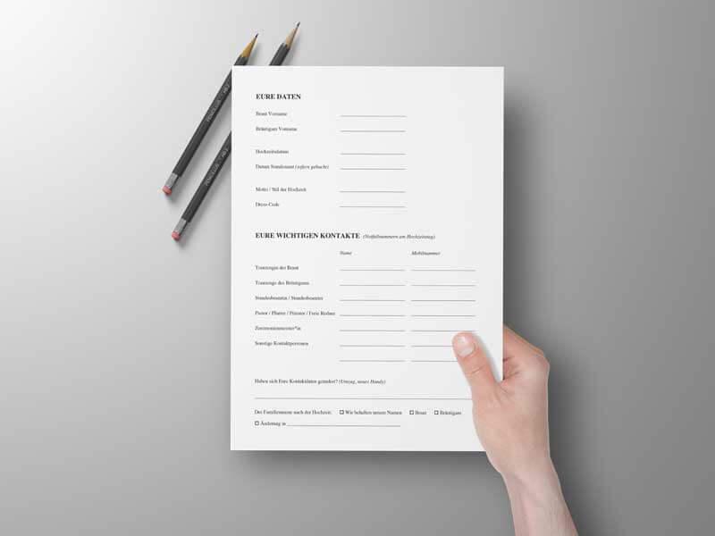 Brautpaar Fragebogen Kundenfragebogen Hochzeit